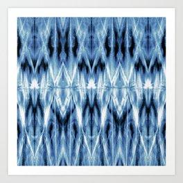 Blue Satin Shibori Argyle Art Print