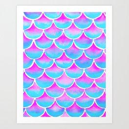 Watercolor Mermaid Scales - Pink Blue Mermaid Scales Art Print