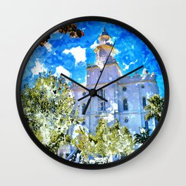 St. George LDS Temple Watercolor - Gold Lining Wall Clock