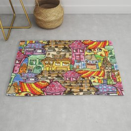 Suburbia watercolor collage Rug