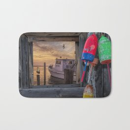 Fishing Boat and Gulls with Fishing Buoys at Sunrise Bath Mat