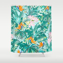 Bird of Paradise Hawaii Rainforest Tropical Leaves Pastels Shower Curtain
