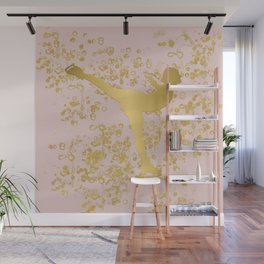 Figure Skater in Golden Flakes and Pink-Graphic Design Wall Mural