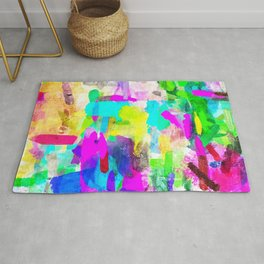 splash brush painting texture abstract background in blue pink yellow green Rug