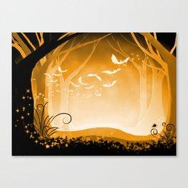 Dark Forest at Dawn in Amber Canvas Print