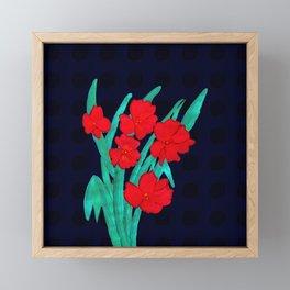 Red flowers gladiolus art nouveau style Framed Mini Art Print