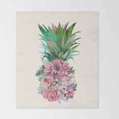 Floral Pineapple Throw Blanket