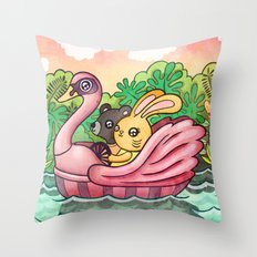Swan Boat Throw Pillow