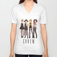 coven V-neck T-shirts featuring Coven by archibaldart
