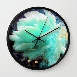 Aqua Rose Wall Clock