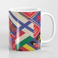 travel poster Mugs featuring EU Travel Poster by Thefunctionalfox