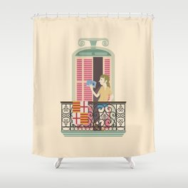 Reading in Barcelona Shower Curtain