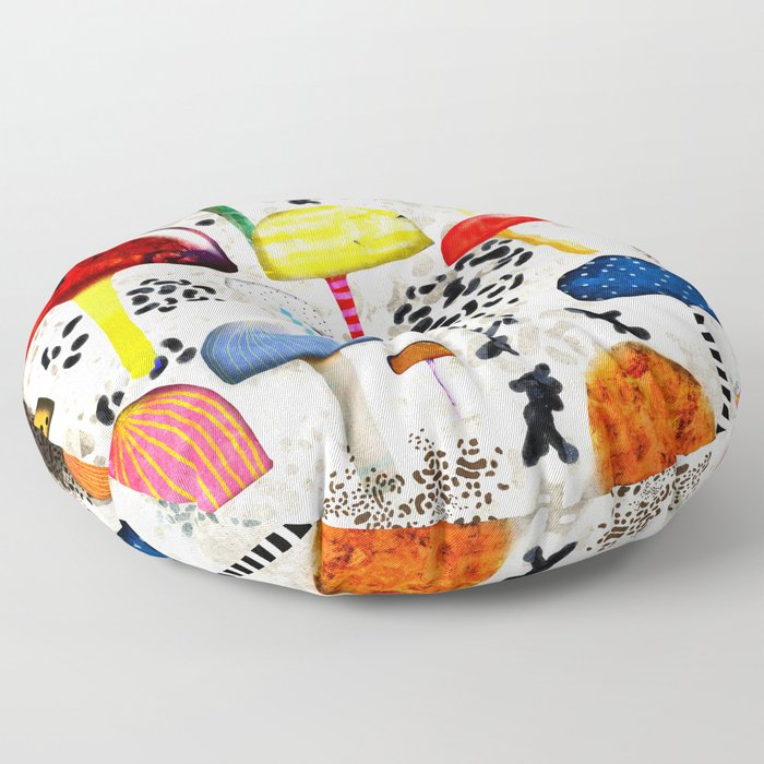 Mein Ein, mein Alles - Mushrooms Abstract Botanical Art - cute animal print - Leopard Muster Floor Pillow