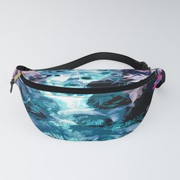 Magical mountain river, fairy colors, leaves, water, peaceful nature view Fanny Pack