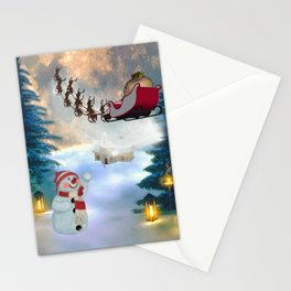 Christmas, snowman with Santa Claus Stationery Cards