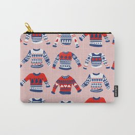 Christmas Sweaters – Red & Navy Palette Carry-All Pouch