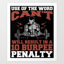 Funny Burpee Personal Trainer Gym Workout Fitness Art Print