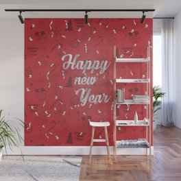 Happy holiday, Christmas sign with snow flake and christmas decoration on the red background Wall Mural