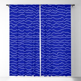 Blue with White Squiggly Lines Blackout Curtain