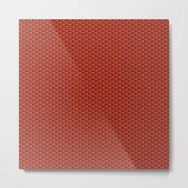 Goyard Pattern Red Metal Print