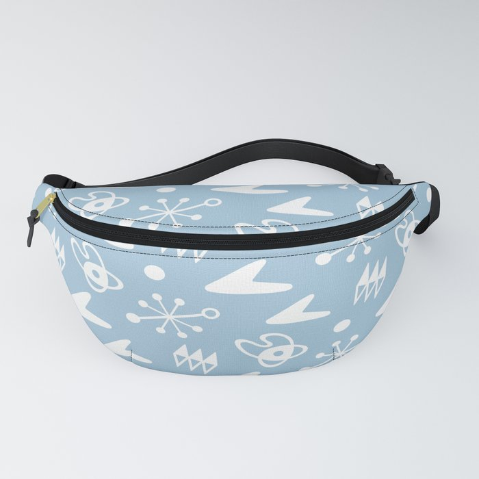 Mid Century Modern Atomic Boomerang Pattern Light Blue Fanny Pack