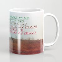 """neil gaiman Mugs featuring """"Out On The Weekend"""" by Neil Young by Melissa Martinez"""