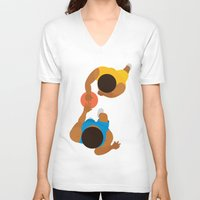lakers V-neck T-shirts featuring Basketball / Geometrical portrait of the LA Laker vs the New York Knicks by In The Modern Era