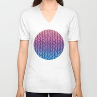 knit V-neck T-shirts featuring Chunky Knit Pattern in Pink, Blue & Purple by micklyn