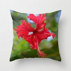Scarlet Flower Throw Pillow