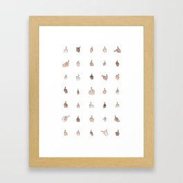 Middle Fingers Colored With Outlines Framed Art Print