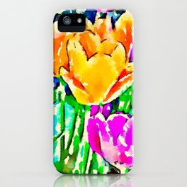 Pink and Yellow Tulips iPhone Case