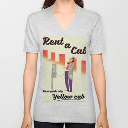 Rent a Cab! New York City Unisex V-Neck
