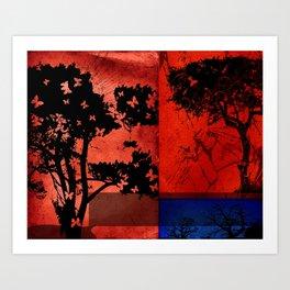Trees in Red Skies Art Print