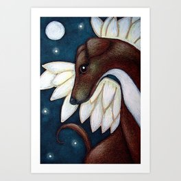 LOVELY GREYHOUND ANGEL DOG IN HEAVEN 2 Art Print
