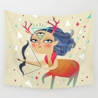 sagittarius Wall Tapestries featuring Sagittarius by Ana Varela