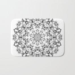 Mandala Project 214   Black and White Lace on White Bath Mat