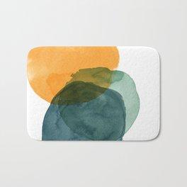 Watercolor Circles in Autumn Shades of Mustard and Teal Bath Mat