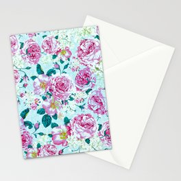 Vintage modern pink green teal watercolor floral Stationery Cards