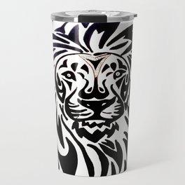 Lion face black and white Travel Mug