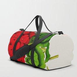 Vintage Scientific Floral Illustration Large Red Flowers Cranesbill Geranium Duffle Bag