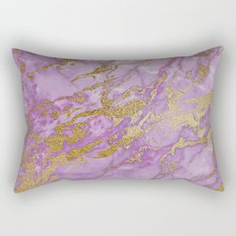 Gold Glitter and Ultra Violet Marble Agate Rectangular Pillow