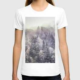 Suprise sunrise. Into the foggy woods. T-shirt