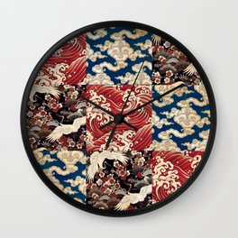 Japanese Print Sea Sky Earth - Red Blue Black Wall Clock
