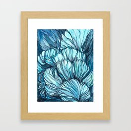 Blue Coral Lines Framed Art Print