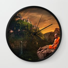 Monk Meditating On A Mountain Wall Clock