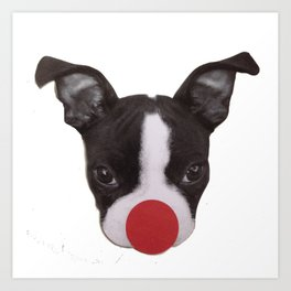 Boston Terrier Christmas Reindeer Art Print