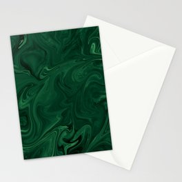 Modern Cotemporary Emerald Green Abstract Stationery Cards