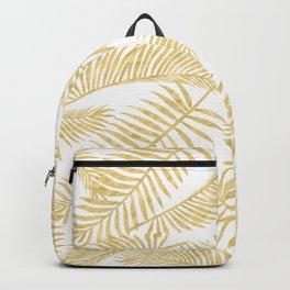 Palm Leaf Pattern Golden Backpack