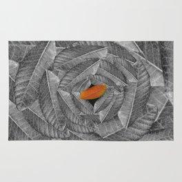 Orange Leaf On Grey And Silver Leaves - Beautiful Background - Autumn mood - #Society6 #buyart Rug