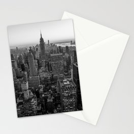 New York Skyline - Manhattan Black and White Stationery Cards